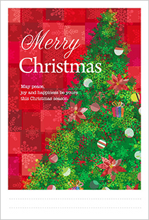 ゴージャスなクリスマスツリーが描かれた鮮やかなクリスマスカード