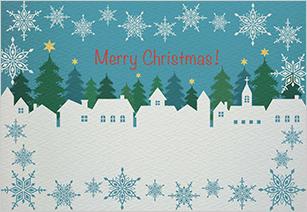 切り絵のような家と雪の結晶が並ぶクリスマスカード